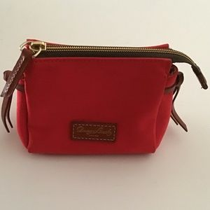 DOONEY & BOURKE RED COATED CANVAS ACCESSORY BAG